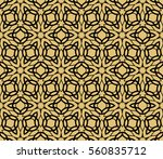 golden floral geometric lace... | Shutterstock . vector #560835712