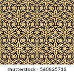 golden floral geometric lace... | Shutterstock . vector #560835712