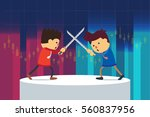 businessman fighting on stage...   Shutterstock .eps vector #560837956