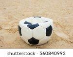 deflated ball forgotten on the... | Shutterstock . vector #560840992