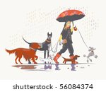 Stock vector girl dog walker taking pack of dogs for a walk 56084374