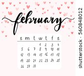 february calendar with hearts ... | Shutterstock .eps vector #560848012