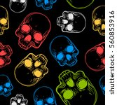 seamless pattern with skulls.... | Shutterstock .eps vector #560853916