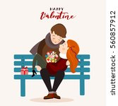 couple of lovers on a bench.... | Shutterstock .eps vector #560857912