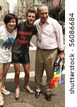 NEW YORK - JUNE 27: US Senator Charles Chuck Schumer poses with unidentified participants at the 2010 New York City Gay Pride March on the streets of Manhattan on June 27, 2010 in New York City. - stock photo