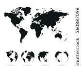set of vector globe planet... | Shutterstock .eps vector #560887096