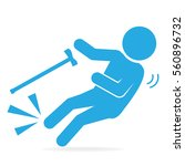elderly with stick and slip... | Shutterstock .eps vector #560896732