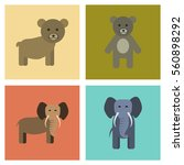 assembly flat icons nature bear ... | Shutterstock .eps vector #560898292