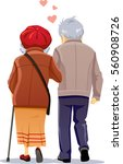 old couple in love walking... | Shutterstock .eps vector #560908726