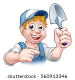 a cartoon gardener holding a... | Shutterstock . vector #560913346