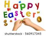 children's hands and words... | Shutterstock . vector #560917345