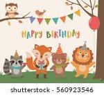 Cute wildlife animals cartoon illustration for birthday invitation or greeting card design template   Shutterstock vector #560923546