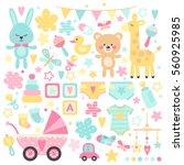big set of baby shower  vector... | Shutterstock .eps vector #560925985