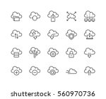Simple Set of Computer Cloud Related Vector Line Icons.  Contains such Icons as Data Synchronisation, Transfer, Cloud Settings and more. Editable Stroke. 48x48 Pixel Perfect.  | Shutterstock vector #560970736