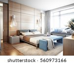 bright and cozy modern bedroom... | Shutterstock . vector #560973166
