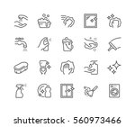 Simple Set of Cleaning Related Vector Line Icons.  Contains such Icons as Spray, Dust, Clean Surface, Sponge and more. Editable Stroke. 48x48 Pixel Perfect. | Shutterstock vector #560973466