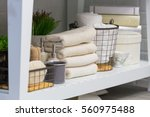clean towels  cups  soap... | Shutterstock . vector #560975488