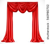 red curtain isolated on a white ... | Shutterstock .eps vector #560980702