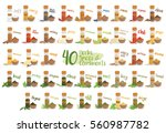 set of 40 different culinary... | Shutterstock .eps vector #560987782