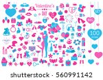 valentine s day icon set.... | Shutterstock .eps vector #560991142