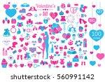 valentine s day icon set.... | Shutterstock .eps vector #560991142