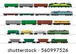 cargo train cars. railway... | Shutterstock .eps vector #560997526