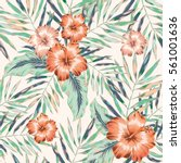 Stock vector pink hibiscus flowers and palm leaves on the white background vector seamless pattern faded 561001636