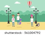 people walking in the park... | Shutterstock .eps vector #561004792