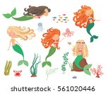 sea collection. mermaids and...   Shutterstock .eps vector #561020446