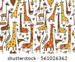 funny giraffes sketch  seamless ... | Shutterstock .eps vector #561026362
