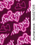 valentine's day pattern with...   Shutterstock .eps vector #561027205