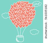 heart shaped hot air balloon in ... | Shutterstock .eps vector #561035182