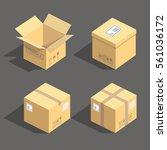 vector isometric cardboard... | Shutterstock .eps vector #561036172