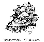 all seeing eye. tatto sketch.... | Shutterstock .eps vector #561039526