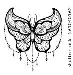 butterfly tattoo sketch. vector ... | Shutterstock .eps vector #561040162