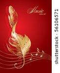 golden treble clef in the form... | Shutterstock .eps vector #56106571