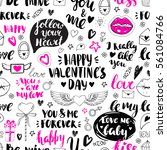 valentines day seamless doodles ... | Shutterstock .eps vector #561084766
