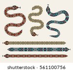 set of snakes with a decorative ... | Shutterstock .eps vector #561100756