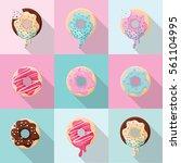 set of  different sweet cute... | Shutterstock .eps vector #561104995