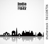 india skyline with... | Shutterstock .eps vector #561108706