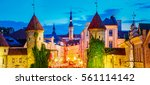 tallinn  estonia. night view of ... | Shutterstock . vector #561114142