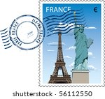 vector postmark with sight of... | Shutterstock .eps vector #56112550