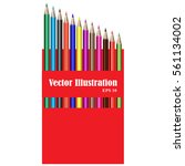 set of 3d crayons in red box... | Shutterstock .eps vector #561134002