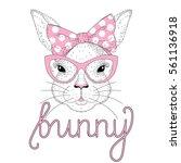 vector cute bunny girl portrait ... | Shutterstock .eps vector #561136918