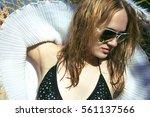 beautiful girl portrait summer...   Shutterstock . vector #561137566