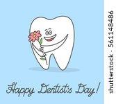 cartoon tooth holding a flower... | Shutterstock .eps vector #561148486