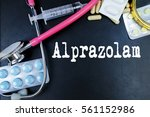 Small photo of Alprazolam drug word use in medicine word in medical background.