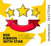 stars and red ribbon emblem.... | Shutterstock .eps vector #561175366