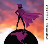 superhero woman in a pink pussy ... | Shutterstock .eps vector #561185515