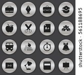 set of 16 education icons.... | Shutterstock . vector #561188695